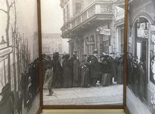 Detail innen mit dem Foto einer Menschenschlange vor dem Wahllokal in der Beymestraße in Berlin-Steglitz, 19. Januar 1919.