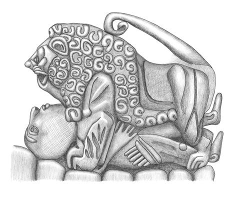 Zeichnung einer ähnlichen Szene an einem Gefäss für einen Beitrag über die Neudatierung des Löwen von Babylon von Dr. Eva Strommenger.
