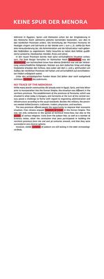 """Ausstellung """"Im Licht der Menora"""": Texttafel deutsch/englisch, Digitaldruck auf weiß lackierter Platte."""