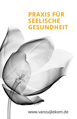 Visitenkarte Vorderseite. Die Röntgenaufnahme der Tulpe ist ästhetischer Blickfang in der Geschäftsausstattung und der Homepage.