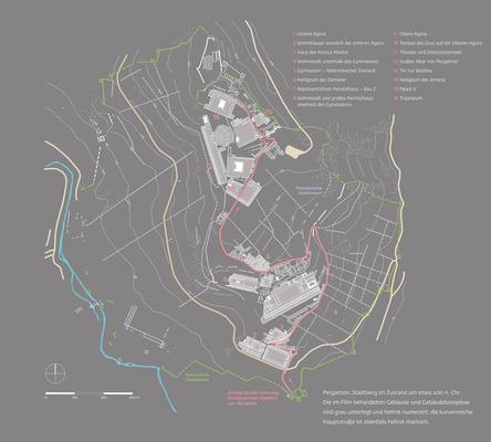 Gesamtplan von Pergamon mit numerierten Stationen, die der Besucher oberhalb projeziert in einer 3-D Rekonstruktion der BTU Cottbus (D. Lengyel) sah.