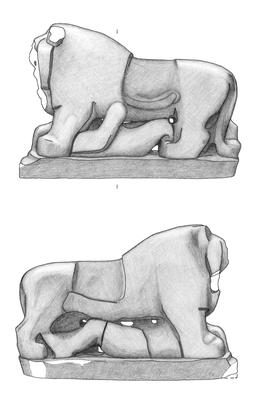 Aufnahme des Löwen von Babylon am Gipsabguss aus den 1920er Jahren. Der Löwe ist über drei Meter lang.
