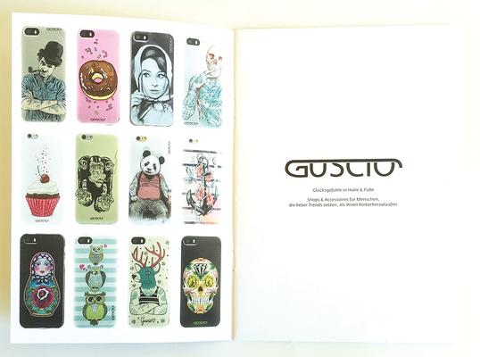 Broschüre für den deutschen Vertrieb  des italienischen Anbieters für Handyhüllen guscio.