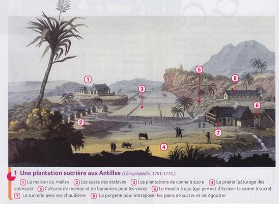 Plantation aux Antilles au XVIIIe siècle, Encyclopédie de Diderot et D'Alembert, légende
