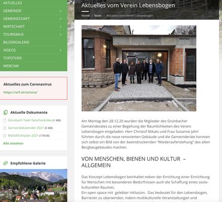 Website Gemeinde Grünbach