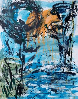 "MY-Myriam HAMOT, ""Paysage 4"", Acrylique, 100x80 cm, 2019"