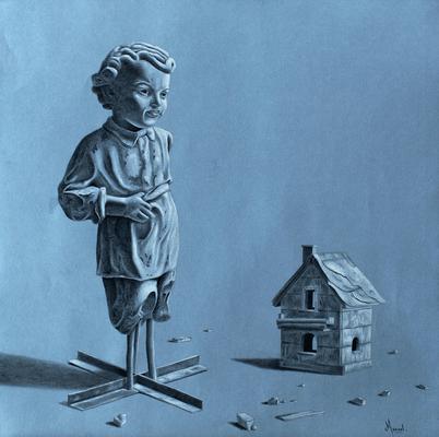 """MANUEL, """"La petite maison"""", Pierre noire et craie blanche, papier teinté, 50x50 cm, 2018"""