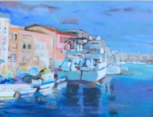 """Valérie BILLET, """"Sète : Les Quais 1 """", Acrylique, 89x116 cm, 2019"""