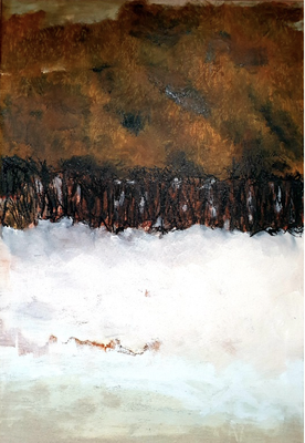 """Elipi, """"Oh sec! Cours"""", Acrylique, encre sur toile, 105x90 cm, 2019"""