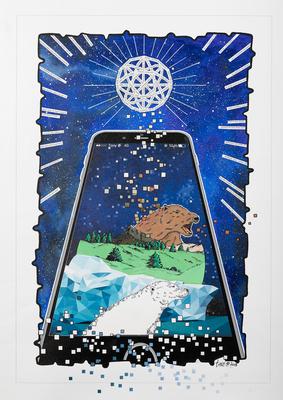 """Tony, """"BIG CRUNCH OURS"""", Acrylique, collage, numérique et réalité augmentée sur toile ,60x40 cm, 2018"""
