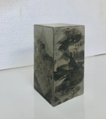 "Valérie BILLET, ""Petit Bloc"", Béton, transfert, 20x10 cm, 2020"