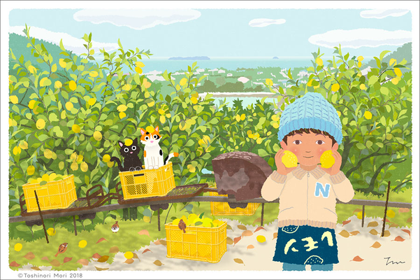 たびねこイラスト-26 レモン畑のモノレール