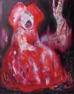 赤い大きなリボン/Red Large Ribbon oil painting/2014/910×727(F30) 個人蔵