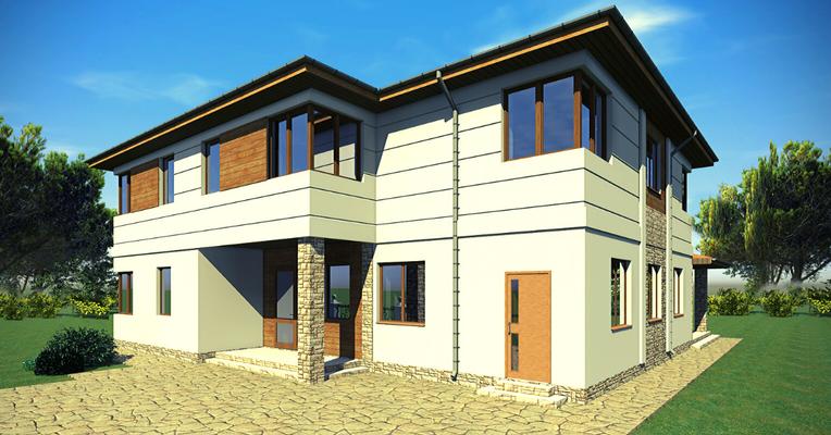 проект дома с угловыми окнами