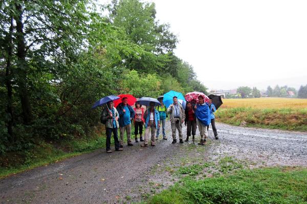 Wandergruppe im Dauerregen