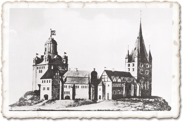Schloss Rheda, Aquarell eines unbekannten Künstlers, um 1720