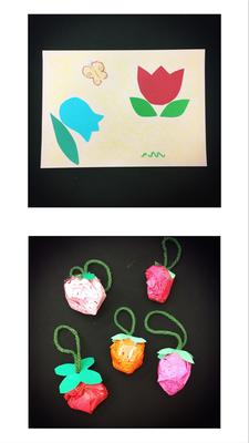 4月8日「おりがみシールでお花をペタペタ」と「手作りいちごちゃん」
