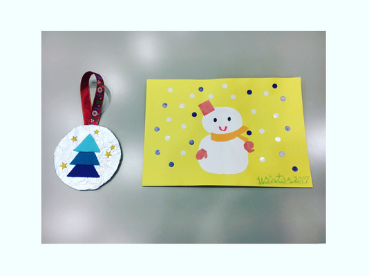 12月9日「クリスマスオーナメント」と「シールペタペタ雪だるま」