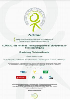 ZPP-Zertifikat für den Präventionskurs Resilienztraining, Anti-Stress-Trainerin Christina Gieseler, Mindful Balance Gesundheitsprävention