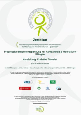 ZPP-Zertifikat Progressive Muskelentspannung mit Achtsamkeit, Anti-Stress-Trainerin Christina Gieseler, Mindful Balance Gesundheitsprävention