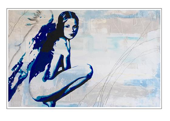 'Be my blue angel' Formaat (bxhxd): 118x78x3