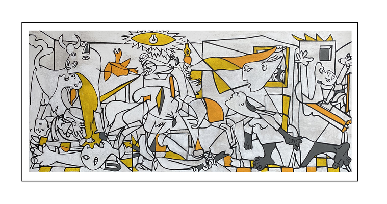 'Third day with Picasso, be happy guernica' Size: 180x80x2