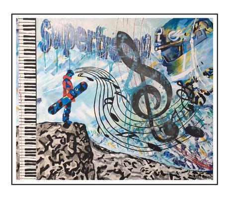 'Joris and music on snowy mountains' Formaat (bxhxd): 120x100x3