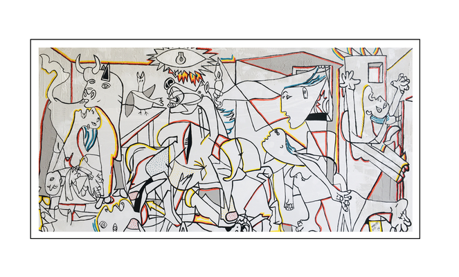 'Second day with Picasso, be happy guernica' Size: 200x100x2
