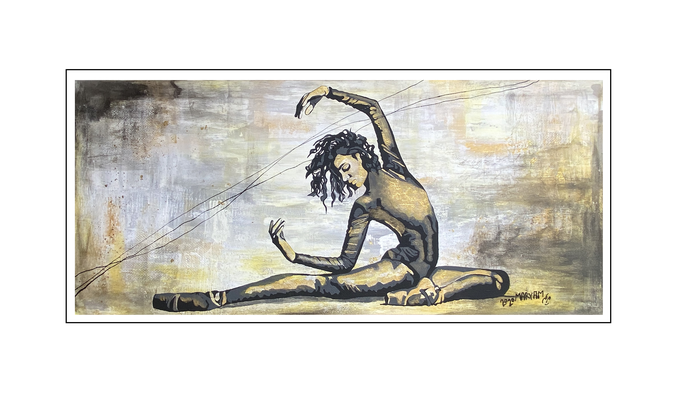 'Dance in black and gold' Size: 180x80x2