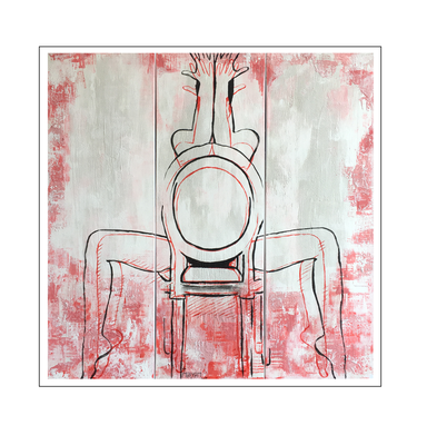 'Hiding behind my hands #2' Formaat (bxhxd): 120x120x2