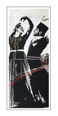 'Dance passion traditional Azerbaijani dance' Formaat (bxhxd): 50x120x2