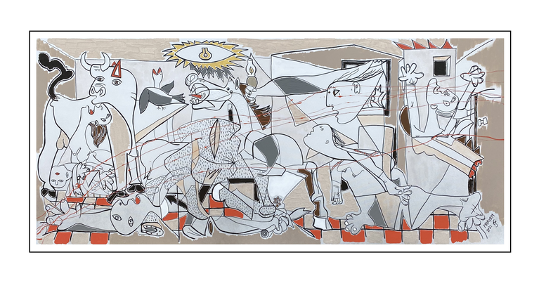 'Fourth day with Picasso, be happy guernica' Size: 180x80x2