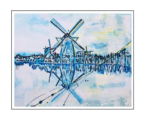 'Kinderdijk's windmills dream #1' Formaat (bxhxd): 100x80x2