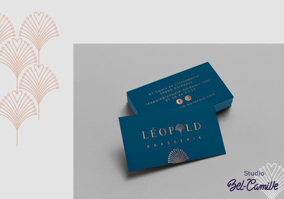 Design de la carte de visite pour la brasserie léopold réalisée par studio bel-camille