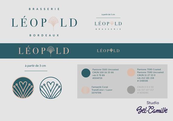 Charte graphique du design de la brasserie léopold réalisée par studio bel-camille