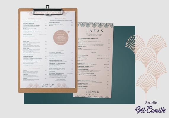 Design de la carterie pour la brasserie léopold réalisée par studio bel-camille