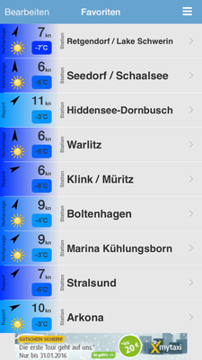 Favoritenliste bei windfinder