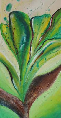 fertig gestellt 2017 - Titel: Grüner Krokus - Format 20 x 40 cm - Preis 120,00 €