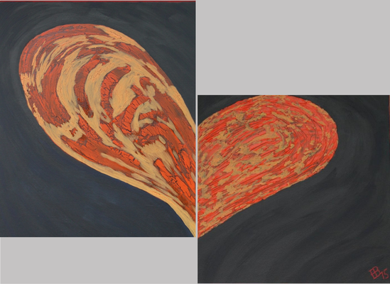fertig gestellt 2015 - Titel Herz in Struktur - Format 40 x 60 cm und 40 x 40 cm - Preis 170,00 €