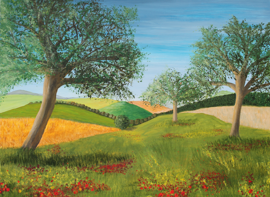 fertiggestellt 2016 - Titel: Sommerwiese - Format 80 x 60 cm - verkauft