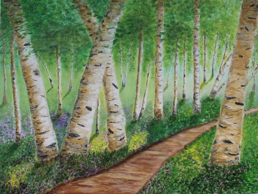 fertiggestellt 2015 - Titel: Birkenwald - Format 80 x 60 cm - verkauft
