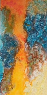 fertig gestellt 2016 - Titel: Abstraktion in türkis 2 - Format 40 x 80 cm - 230,00 € - Preis für Duo 420,00 €