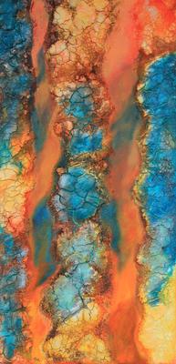 fertig gestellt 2016 - Titel: Abstraktion in türkis 1 - Format 40 x 80 cm - 230,00 € - Preis für Duo 420,00 €