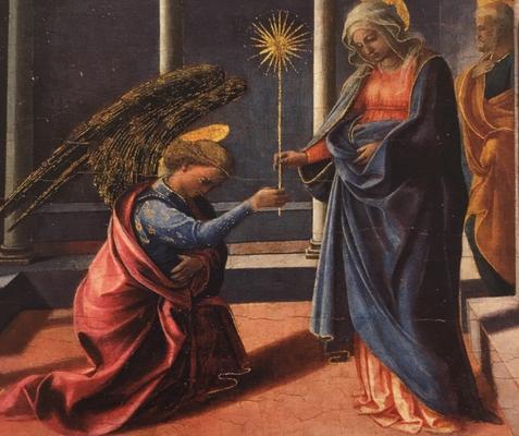 フィリッポリッピ Annuncio della Vergine  展覧会ハガキより一部抜粋