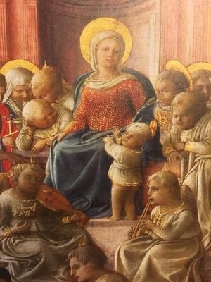 フィリッポリッピ Madonna col Bambino, santi, angeli e il donatore 展覧会ハガキより一部抜粋