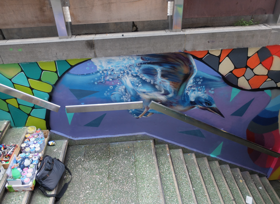 """Fresque """"entrées du souterrain de la gare de Namur""""_2019"""