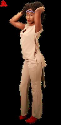 Beige Set of Wide leg pants and Top