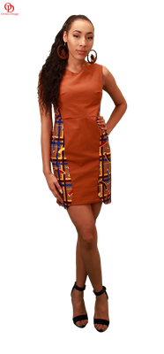 African print mix cocktail dress