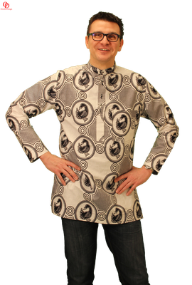 white black african print shirt