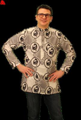 white black african print shirt